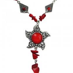 Red Round Rhinestone Sun Natural Stone Fashion Necklace