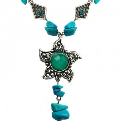 Blue Round Rhinestone Sun Natural Stone Fashion Necklace
