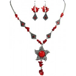 Red Fashion Necklace Earrings Set, Cheap Costume Jewellery Sets, Cheap Jewellery Accessories, Women Girls Gifts
