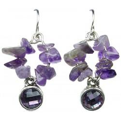 Chic Costume Jewellery, Fashion Jewelry Earrings UK, Purple Natural Stone Earrings, Short Drop Earrings, Small Dangle Earrings