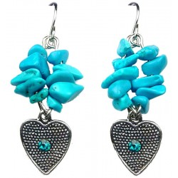 Blue Natural Stone Heart Short Drop Earrings