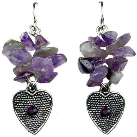 Cheap Costume Jewellery, Purple Natural Stone Earrings, Short Earring, Fashion Jewelry UK Earrings, Heart Drop Earrings, Earring