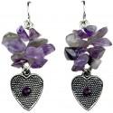 Purple Natural Stone Heart Short Drop Earrings