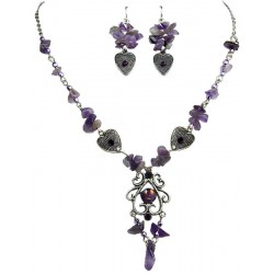Purple Natural Stone Jewellery Sets. Fashion Jewellery Sets, Purple Necklace Earrings Sets, Costume Jewelry Set UK, Jewelry Sets