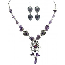 Purple Natural Stone Jewelry Sets, Fashion Jewellery Set, Purple Necklace Earrings Sets, Costume Jewelry Set UK, Woman Gift