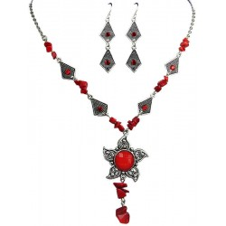 Red Fashion Necklace Earrings, Costume Jewellery Sets, Cheap Jewellery Set, Fashion Jewelry Set UK, Women Girls Gifts