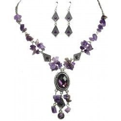 Purple Natural Stone Jewellery Set, Fashion Jewellery Set UK, Necklace Earrings Sets, Costume Jewelry Set UK, Women Gifts