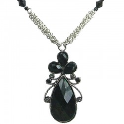 Black Diamante Rhinestone Teardrop Fashion Necklace