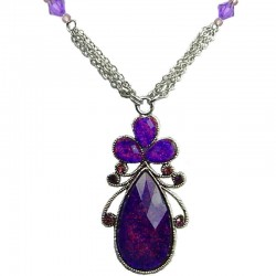 Purple Diamante Rhinestone Teardrop Fashion Necklace