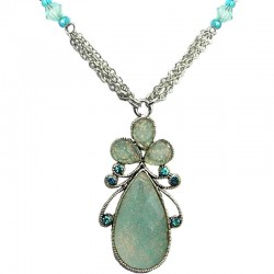 Light Blue Diamante Rhinestone Teardrop Fashion Necklace