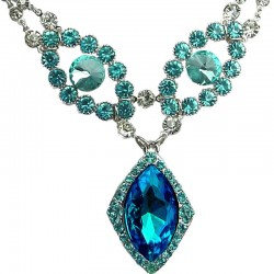Blue Teardrop Rhinestone Diamante Dressy Statement Necklace