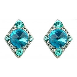 Blue Diamante Kite Shape Stud Earrings