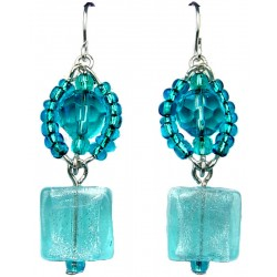 Blue Square Venetian Glass Beaded Drop Earrings