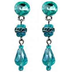 Blue Teardrop Faceted Glass Bead Diamante Fashion Drop Earrings