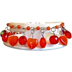 Red Natural Stone Cats-Eyes Heart Charm Cluster Dangle Bead Bracelet