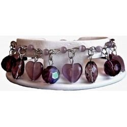 Purple Natural Stone Cats-Eye Heart Charm Cluster Dangle Bead Bracelet