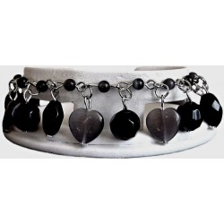 Black Natural Stone Cats-Eye Heart Charm Cluster Dangle Bead Bracelet