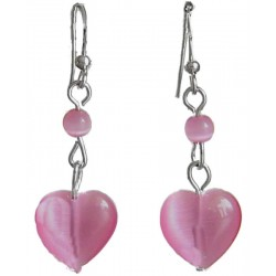 Small Costume Jewellery, Fashion Jewelry Earrings UK, Pink Natural Stone Heart Earrings, Short Dangle/Dainty Drop Earrings