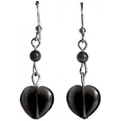 Small Costume Jewelry UK, Fashion Jewellery Earrings, Black Natural Stone Heart Earrings, Dainty Dangle/Short Drop Earrings