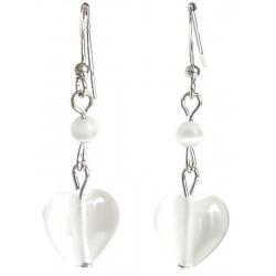 Small Costume Jewellery, Fashion Jewelry Earrings UK, White Natural Stone Heart Earrings, Short Dangle/Dainty Drop Earrings