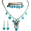 Blue Natural Stone Heart Dangle Bead Necklace Bracelet Earrings Jewellery Set