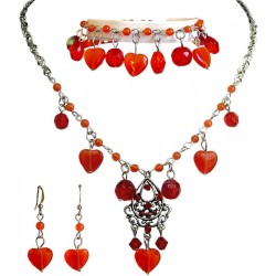 Red Costume Jewellery Sets, Natural Stone Heart Jewellery Set, Dangle Bead Jewellery Set, Red Necklace Bracelet Earrings Sets
