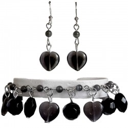 Black Costume Jewelry Sets UK, Black Natural Stone Heart Jewellery Sets, Dangle Bead Bracelet Earrings Sets