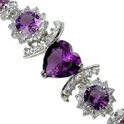 Purple Heart Rhinestone Clear Diamante Crystal Dressy Bracelet