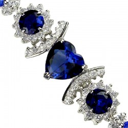 Fashion Jewellery Bracelets, Royal Blue Heart Bracelet, Diamante Bracelet, Dressy Bracelet, Costume Jewelry Bracelets UK