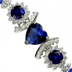 Royal Blue Heart Rhinestone Clear Diamante Crystal Dressy Bracelet