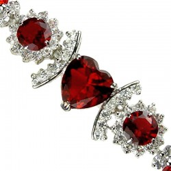 Red Heart Rhinestone Clear Diamante Crystal Dressy Bracelet