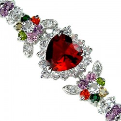 Red Heart Rhinestone Multi Colour Diamante Crystal Dressy Bracelet