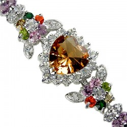 Brown Heart Rhinestone Multi Colour Diamante Crystal Dressy Bracelet