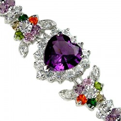 Purple Heart Rhinestone Multi Colour Diamante Crystal Dressy Bracelet