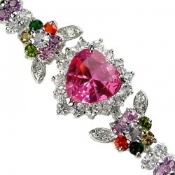 Pink Heart Rhinestone Multi Colour Diamante Crystal Dressy Bracelet