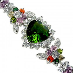 Olive Green Heart Rhinestone Multi Colour Diamante Crystal Dressy Bracelet