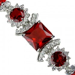 Red Square Rhinestone Clear Diamante Crystal Dressy Bracelet
