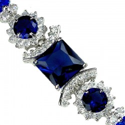 Royal Blue Square Rhinestone Clear Diamante Crystal Dressy Bracelet