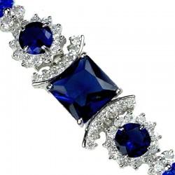 Royal Blue Square Rhinestone Clear Diamante Crystal Dressy Bracelet