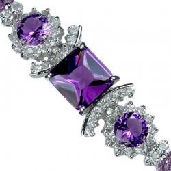 Purple Square Rhinestone Clear Diamante Crystal Dressy Bracelet