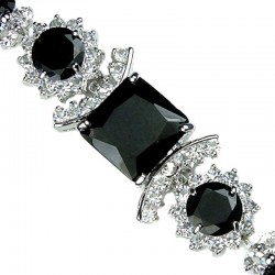 Black Square Rhinestone Clear Diamante Crystal Dressy Bracelet