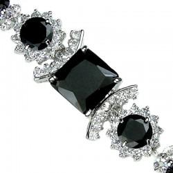 Black Square Rhinestone Clear Diamante Crystal Dressy Bracelet