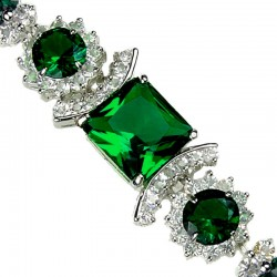 Emerald Green Square Rhinestone Clear Diamante Crystal Dressy Bracelet