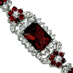 Ruby Red Rectangle Rhinestone Clear Diamante Crystal Dressy Bracelet