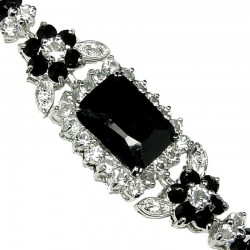Black Rectangle Rhinestone Clear Diamante Crystal Dressy Bracelet