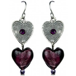 Linear Drop Purple Murano Glass Bead Heart Silver Heart Dangle Earrings