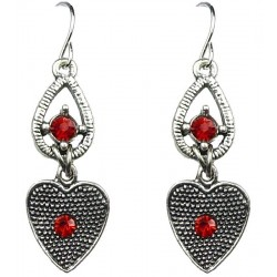 Red Diamante Open Teardrop Vintage Heart Drop Earrings