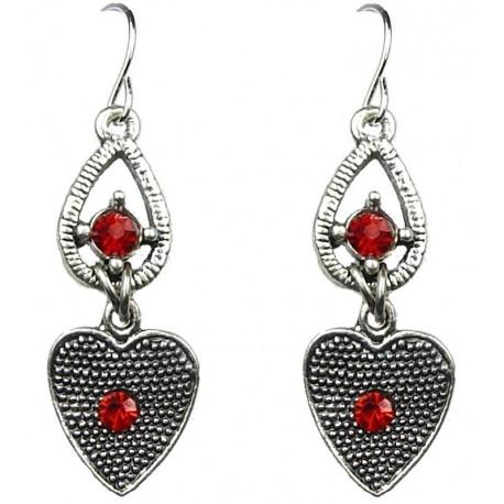 Small Costume Jewellery, Red Drop Earrings, Fashion Jewelry Earrings UK, Red Diamante Dangle Earrings, Women Dress Accessories