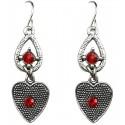 Red Diamante Open Teardrop Vintage Heart Drop Earrings