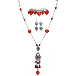 Red Fashion Jewellery Sets, Costume Jewelry Set UK, Long Necklace Bracelet Earrings Sets, Heart Jewellery Sets, Red Jewellery